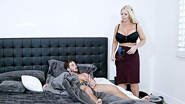 Fine mom is keen to undress and try the young lad's cock for a few rounds