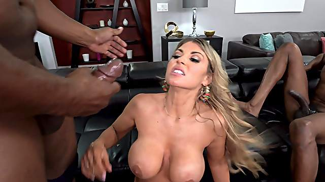 Big-breasted Kayla Kayden has fun with BBC double penetration