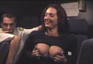 Boobs flashing flight attendant
